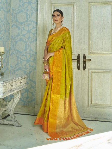 GrabandPack two tone silk sarees online in Orange