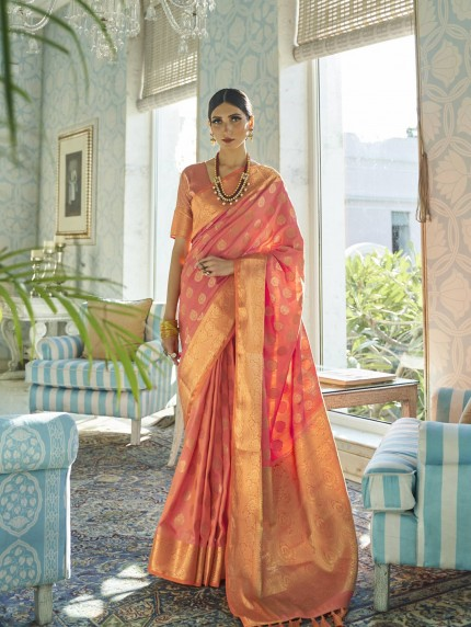 GrabandPack two tone silk sarees online in Peach