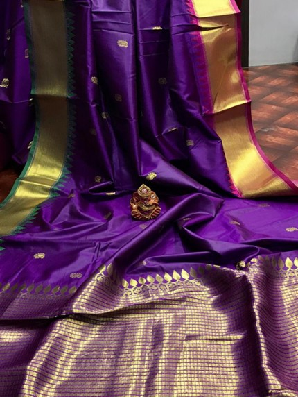 Violet Pure Jacquard Fabrics with Superior Gold Pure Zari Work - gnp01017