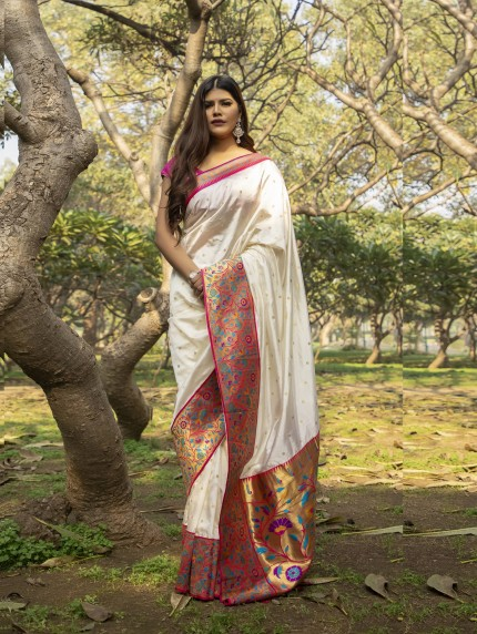 White Soft Silk saree with Patch Weaving Border grabandpack