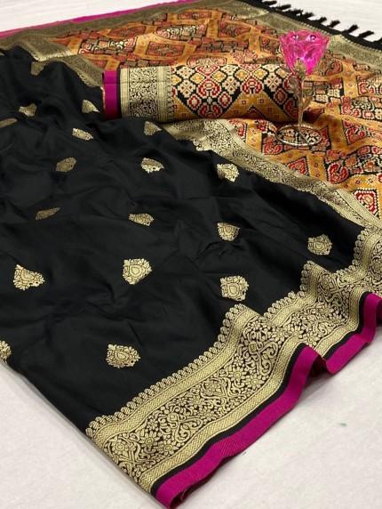 grabandpack Beautiful Kanchipuram potala saree in Black
