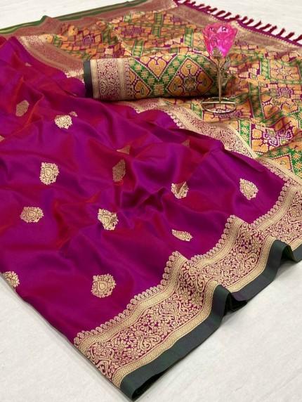 Women's Beautiful Kanchipuram potala saree in magenta
