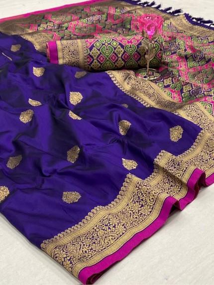 Beautiful Kanchipuram potala saree in Purple