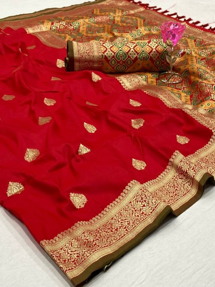 Beautiful Red Kanchipuram potala saree