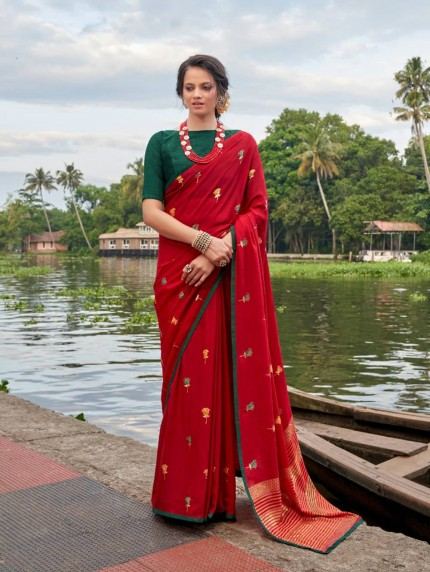 Women's Red Italian Chiffon saree With Foil Print
