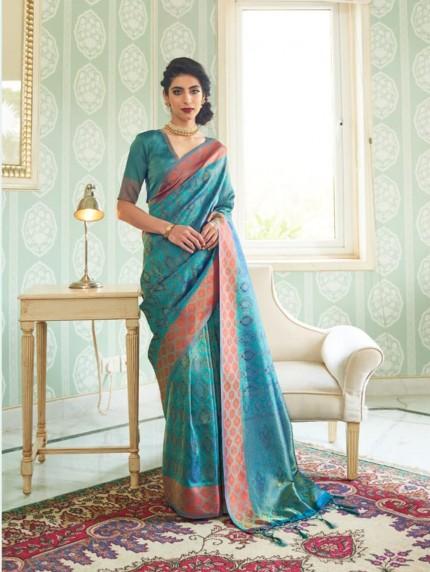 women's Blue Soft silk saree online india
