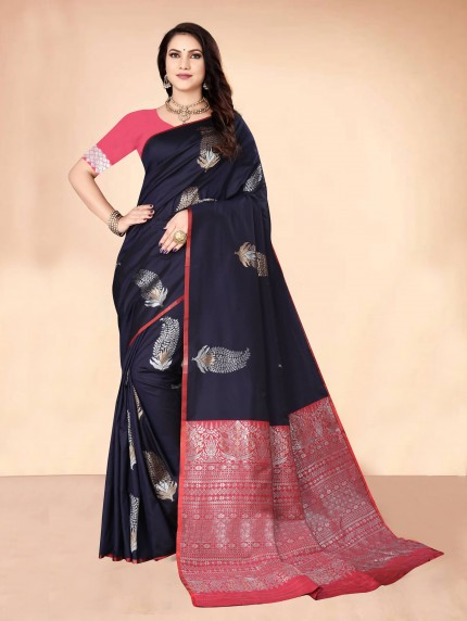 GrabandPack Blue coloured Soft silk saree