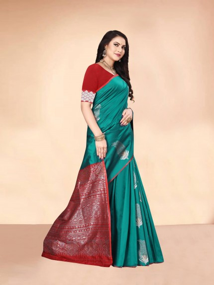 sea green saree combination grabandpack