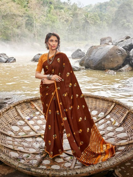 Brown color Chiffon saree online india