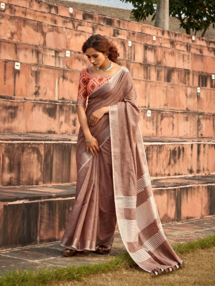 Brown Linen silk saree - grabandpack