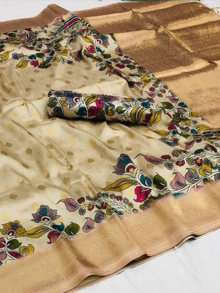 Cream color Floral Printed saree