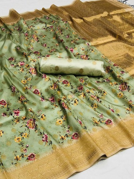 Women's Cotton silk Floral Printed saree in Green