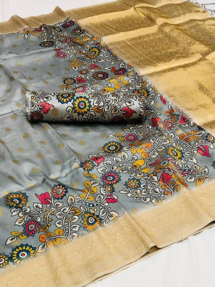 Grey color floral saree