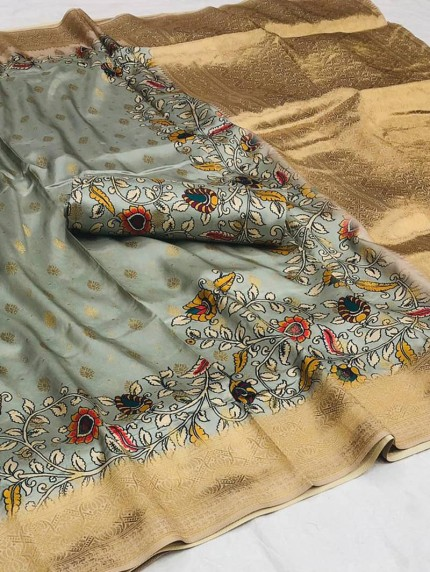 Grey floral Printed saree