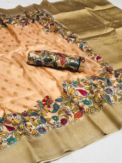 Women's Cotton silk Floral Printed saree in Peach