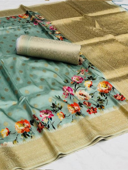 GrabandPack Sky Blue floral Printed Party wear saree