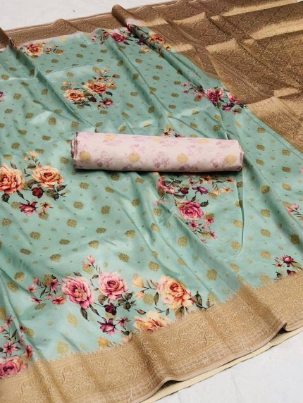 Women's Cotton silk Floral Printed saree in Sky Blue