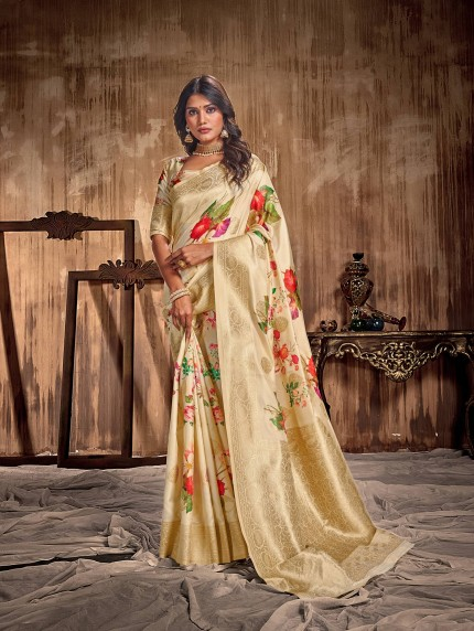 Women's Digital printed Soft Silk Saree