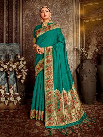 Gorgeous soft silk designer saree in green