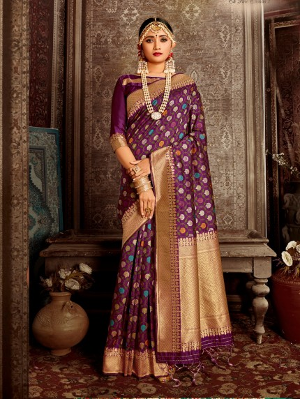 women's Gorgeous soft silk designer saree in purple