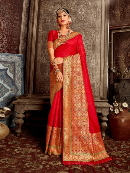 grabandpack red saree modern