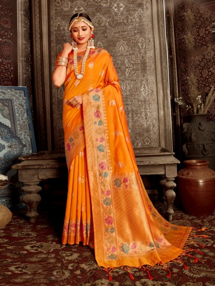 yellow color saree matching blouse by grabandpack