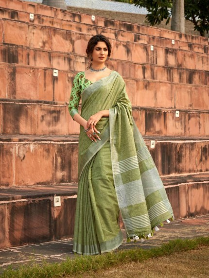 Women's Green Linen Winter Special Saree - grabandpack