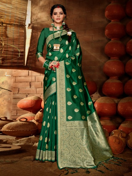 Women's Green Soft silk saree grabandpack
