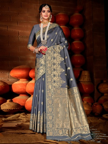 Women's Grey Soft silk saree grabandpack