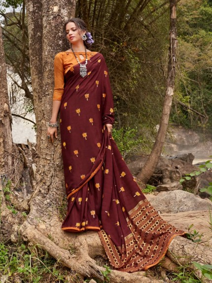 Maroon color Soft silk saree online india
