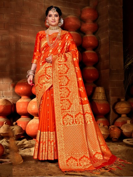 grabandpack Orange color saree