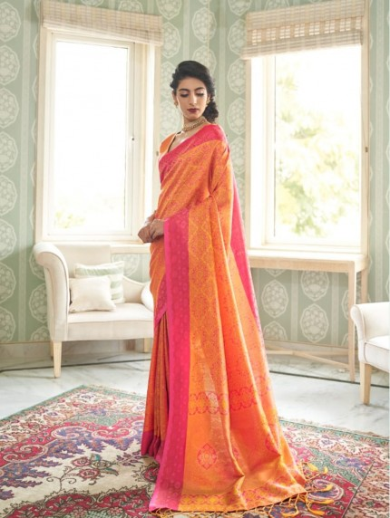 women's Orange Soft silk saree online india