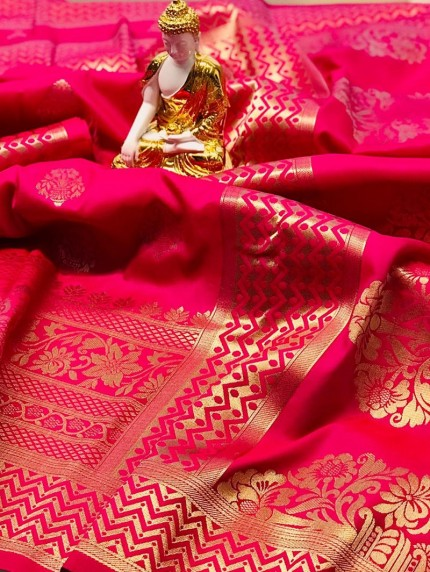 Pink coloured Jacquard Gold zari work saree at grabandpack