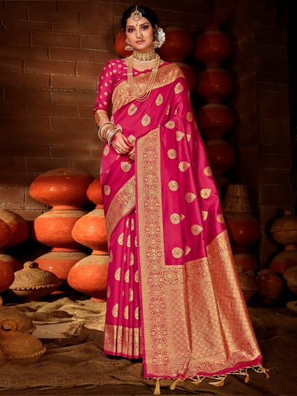 Women's Pink Soft silk saree grabandpack