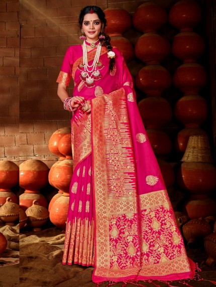 Women's Pink Soft silk saree grabandpack