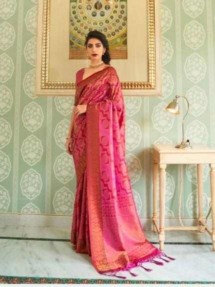 women's Pink Soft silk saree online india