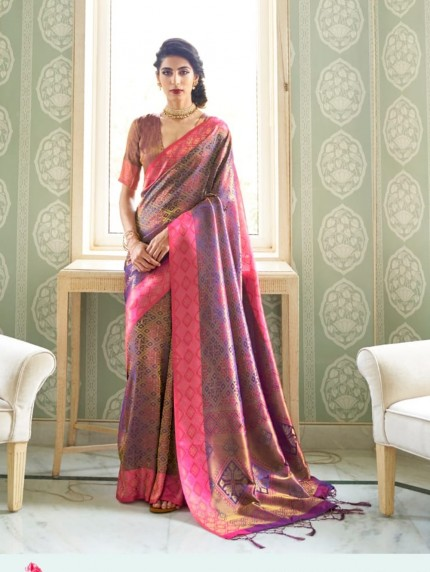women's Pink Soft silk saree online india