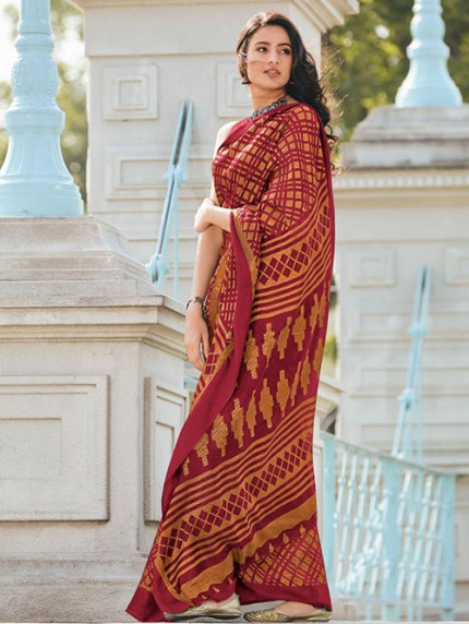 Women's Printed Brasso Printed Saree in Brown gnp008280- Grab and pack