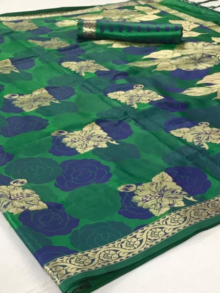Green Satin silk sarees online india by grabandpack.com