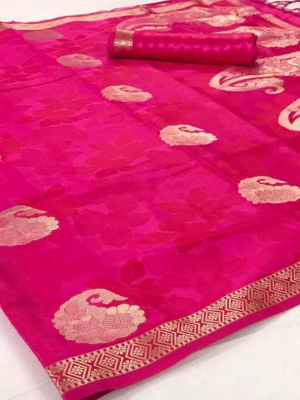 Pink Satin silk sarees online india by grabandpack.com