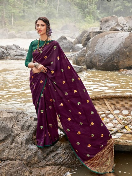 purple colour chiffon saree