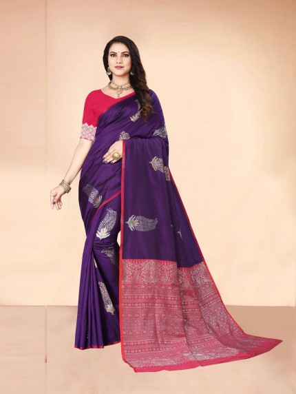 purple engagement saree grabandpack