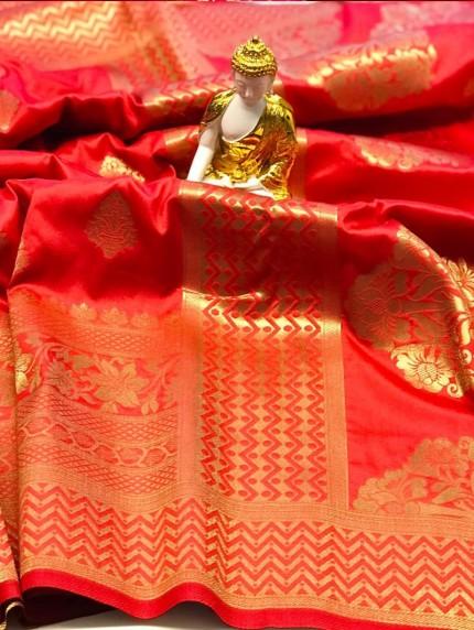 Red coloured Jacquard Gold zari work saree at grabandpack