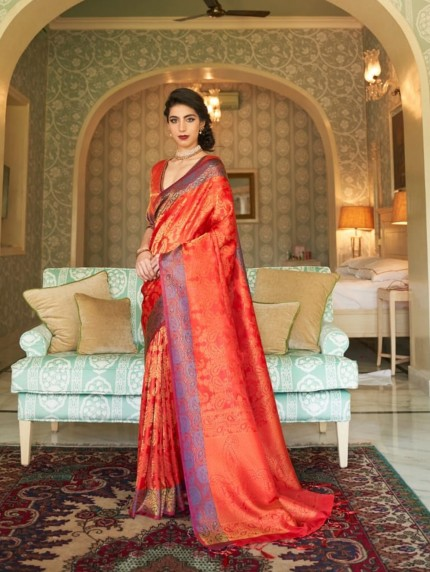 women's Red Soft silk saree online india