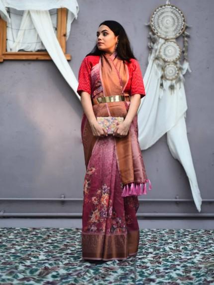 Women's Soft Linen floral digital Printed party wear Saree