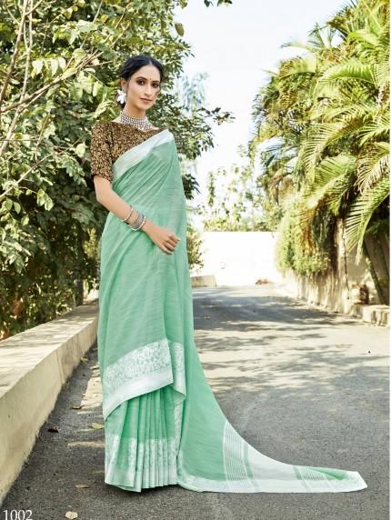 women's Soft Linen Party wear saree in Green