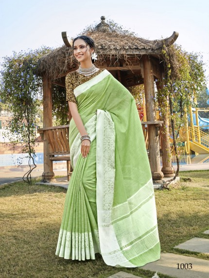 Soft Linen Party wear saree in Green grab and pack