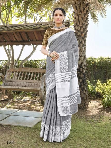 women's Soft Linen Party wear saree in Grey GrabandPack