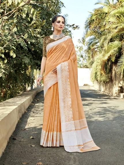 GrabandPack women's Soft Linen Party wear saree