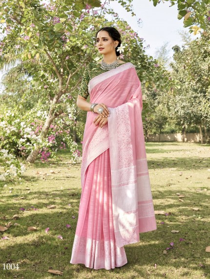 women's Soft Linen Party wear saree in Pink